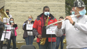 100 musicians, including the NAC Orchestra, perform outside at Ottawa City Hall. (Jackie Perez/CTV News Ottawa)