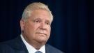 Ontario Premier Doug Ford attends a press briefing at the Queens Park Legislature in Toronto, on Friday October 15, 2021. THE CANADIAN PRESS/Chris Young