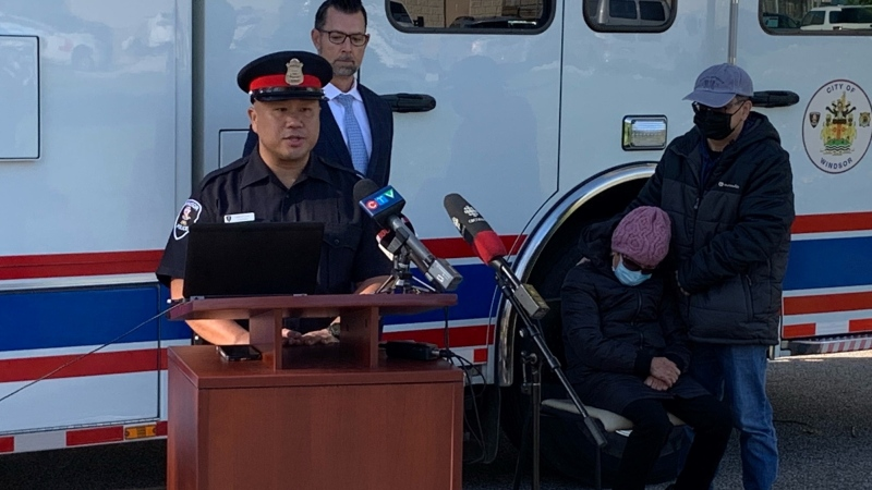 Windsor police held a news conference about a fatal hit-and-run in Windsor, Ont., Friday, Oct. 22, 2021. (Chris Campbell / CTV Windsor)