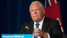 Ontario Premier Doug Ford reaches for a glass of water after responding to the final question at a press conference announcing the enhanced COVID-19 vaccine certificate system, at Queen's Park in Toronto on Wednesday, September 1, 2021. THE CANADIAN PRESS/ Tijana Martin
