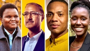 Haruun Ali, Amarjeet Sohi, Adrian Bruff and Shamair Turner all said they experienced some form of racism during the 2021 Edmonton election. (Source: campaign photos)