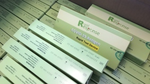 COVID-19 rapid antigen tests are pictured at the Regina Chamber of Commerce on Oct. 22, 2021. (Stefanie Davis/CTV News)