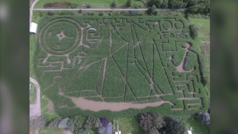 Inspired by a trip to Nova Scotia, this year's corn maze at Hunter Brothers Farm is all about the legendary schooner. (Photo courtesy: Hunter Brothers Farm)