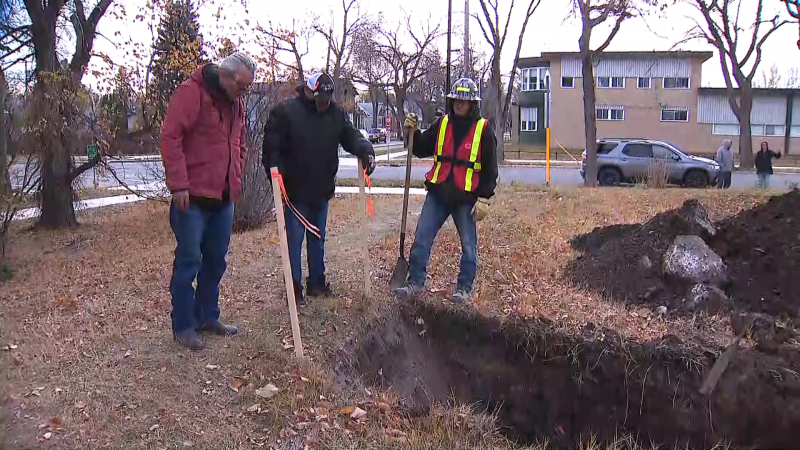 Indigenous Elders take part in a search for human remains at the Charles Camsell Hospital in Edmonton on Oct. 22, 2021. (CTV National News)