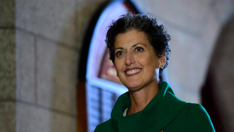 Senator Josee Forest-Niesing arrives to the Senate to be sworn-in on Parliament Hill on Tuesday, Oct. 16, 2018. THE CANADIAN PRESS/Sean Kilpatrick