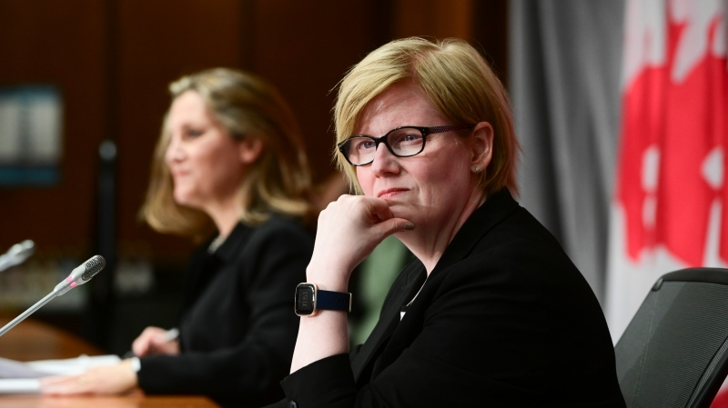 Minister of Finance Chrystia Freeland and Minister of Employment, Workforce Development and Disability Inclusion Carla Qualtrough holds a press conference on Parliament Hill in Ottawa on Thursday, Sept. 24, 2020. THE CANADIAN PRESS/Sean Kilpatrick