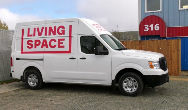 Outreach workers with Living Space will be able to reach more people, more efficiently, with a new vehicle purchased with a donation from Scotiabank in Timmins. It can also be used as a temporary warming station. (Lydia Chubak/CTV News)
