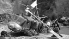 This July 23, 1982 file photo shows the crash site where actor Vic Morrow and two children were killed during the filming of movie, 'The Twilight Zone'' in Santa Clarita, Calif. (AP Photo/Scott Harms, File)