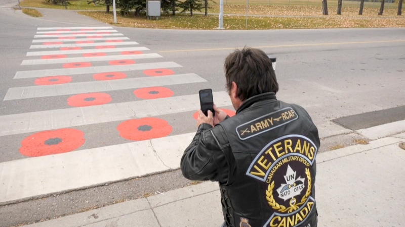 A ceremony will be held at a poppy crosswalk in Chestermere, Alta.