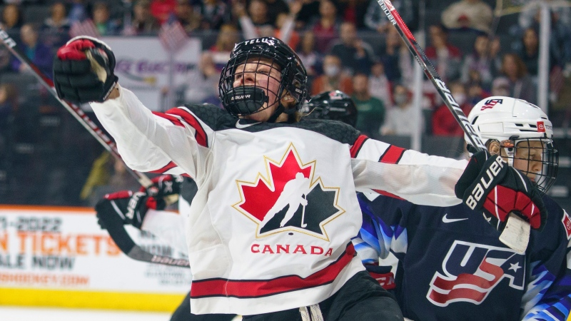 Canada's Sarah Fillier celebrates her goal against the United States during the first period of a hockey game Friday, Oct. 22, 2021, in Allentown, Pa. (AP Photo/Chris Szagola)