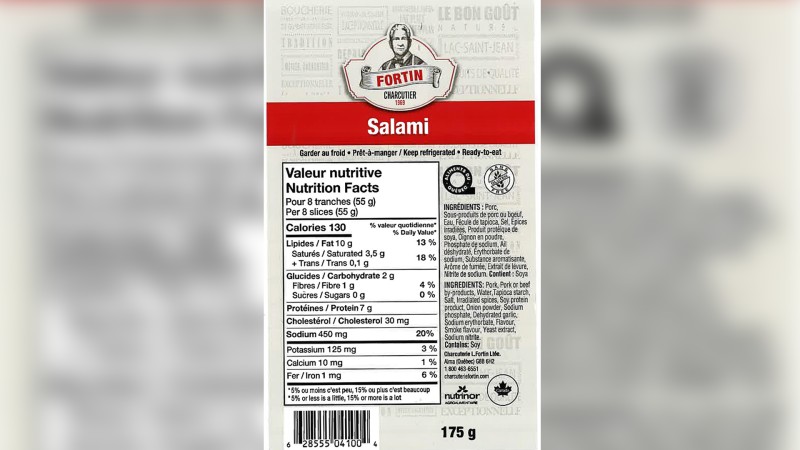Charcuterie Fortin brand salami is being recalled for not indicating that it contains wheat, a potential allergen, on the label. (Image source: Canadian Food Inspection Agency)