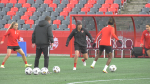 Christine Sinclair and members of Team Canada's gold medal winning women's soccer team practice at TD Place Friday, Oct. 22, 2021, ahead of a friendly match against New Zealand on Saturday. (Jackie Perez/CTV News Ottawa)