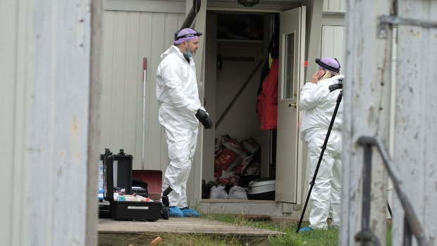 Police technicians investigate the apartment of the man who killed five people in Kongsberg, Norway, Saturday, Oct. 16, 2021. (Terje Pedersen / NTB Scanpix via AP)