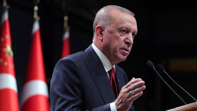 Turkish President Recep Tayyip Erdogan speaks after a Cabinet meeting, in Ankara, Turkey, Monday, Oct. 11, 2021. (Turkish Presidency Pool via AP)