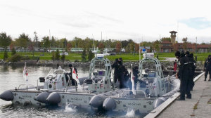 The Royal Canadian Navy trains at the Barrie waterfront on Saturday, October 23 (Steve Mansbridge/CTV News)