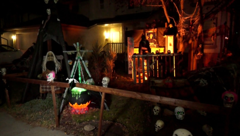 The Harrop family's home on Dougladale Boulevard S.E. has a full-scale Halloween display.