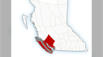 A map from Environment Canada shows several weather advisories for the south coast of B.C. on Saturday, Oct. 23, 2021.