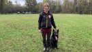 Kordula Juhnke, London, Ont. and her dog 'Yukon' are headed to the WUSV Championships in Lerma, Spain in early November. Seen training on Oct. 23, 2021 near London. (Brent lale / CTV News)