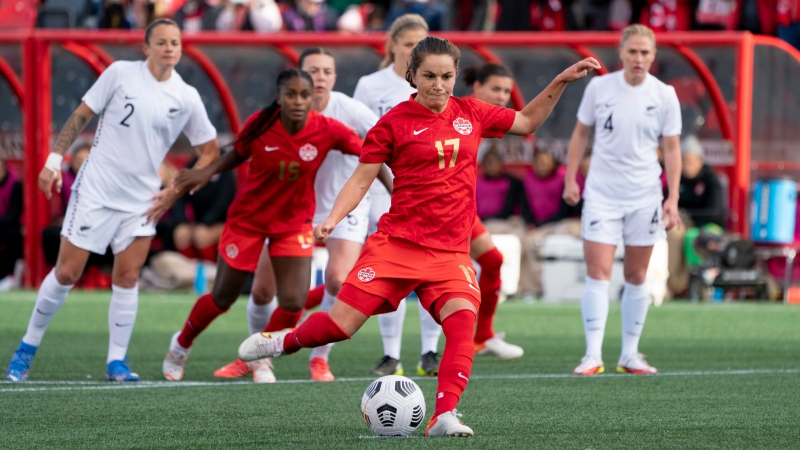 Canada's Jessie Fleming scores on a penalty shot in the first half during Celebration tour action against New Zealand, in Ottawa, Saturday, Oct. 23, 2021. THE CANADIAN PRESS/Adrian Wyld