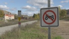 A sign prohibiting ATVs along the Algonquin Trail. The City of Pembroke is opening up the trail to snowmobiles and ATVs this winter and in the coming spring. (Dylan Dyson/CTV News Ottawa)
