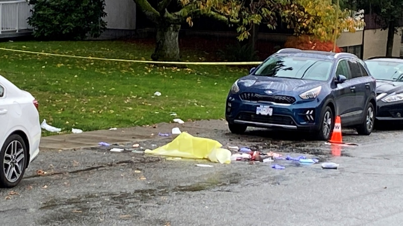 A photo taken Oct. 23, 2021, the morning after a fight on the 1000 block of Bole Street in New Westminster, B.C., shows a pile of what appears to be used disposable medical equipment.