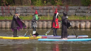 Witches paddle through Wasaga Beach