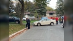 Police are investigating after the driver fled the scene of a single-vehicle collision in the central part of the city on Sat. Oct. 23, 2021 (Chris Garry/CTV News Barrie)