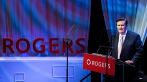 Rogers Communications chairman Edward Rogers speaks to shareholders during the Rogers annual general meeting in Toronto, April 20, 2018. THE CANADIAN PRESS/Nathan Denette