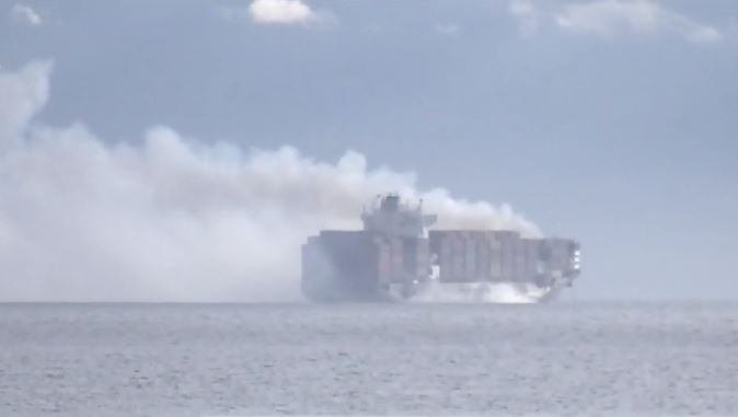 The Malta-flagged vessel was inbound for Vancouver when it listed to one side, dropping the containers into the ocean near the mouth of the Strait of Juan de Fuca. (CTV News)
