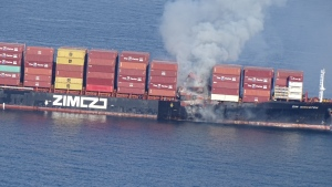 No injuries had been reported aboard the ship Saturday evening. (USGC)