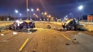 Two people were injured following a wrong-way crash on the QEW. (Twitter/@OPP_HSD)