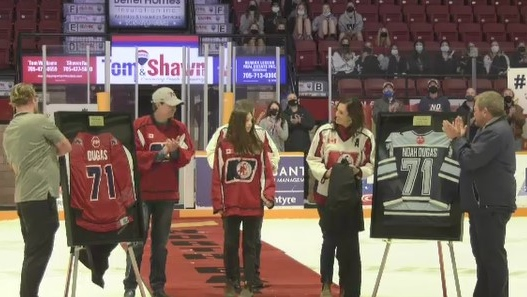 The U15 AAA North Bay Trappers hosted the Sudbury Nickel Capitals Saturday and the two teams, along with plenty of fans in the stands honoured Noah Dugas after the game with the unveiling of his jersey, #71. Oct.23/21 (Jaime McKee/CTV News Northern Ontario)