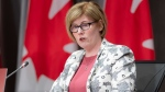 Employment, Workforce Development and Disability Inclusion Minister Carla Qualtrough speaks during a news conference, Friday, June 5, 2020 in Ottawa. THE CANADIAN PRESS/Adrian Wyld