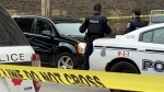 Windsor police have cleared a vehicle being investigated Sunday morning in relation to a fatal hit and run, Oct. 24, 2021. (Chris Campbell / CTV News)