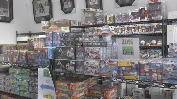 Ultimate Sports Cards owner Robert Collins told CTV News he consistently has customers who come from as far north as Timmins and from down south as well. Oct.24/21 (Jaime McKee/CTV News Northern Ontario)