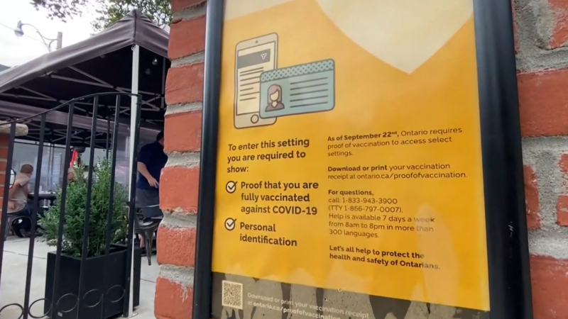 A sign outside an Ottawa business advising customers of the need to provide proof of vaccination. (CTV News Ottawa)