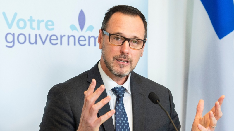 Quebec Education Minister Jean-Francois Roberge speaks during a news conference in Montreal, Sunday, October 24, 2021, where he outlined plans to replace a class on religious culture and ethics. THE CANADIAN PRESS/Graham Hughes