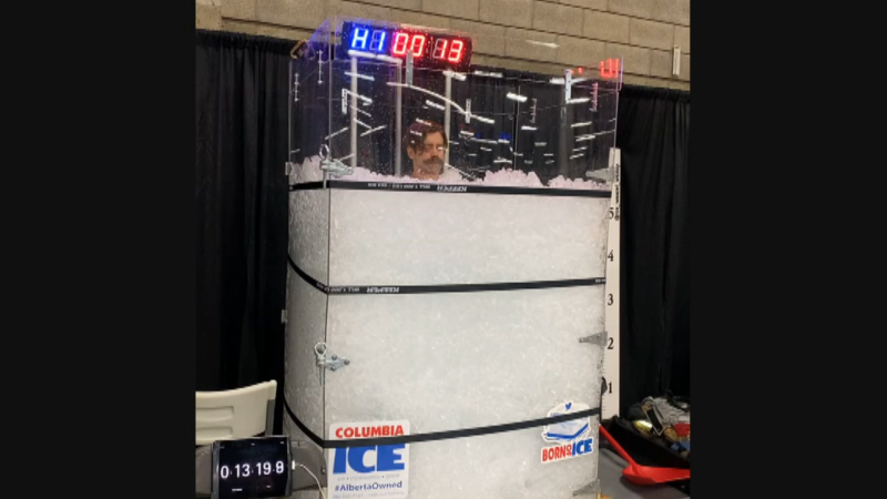An Edmonton firefighter attempted to shatter a world record for longest ice bath Saturday while raising funds for a charity (Source: Wesley Bauman).