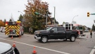 A serious crash in Surrey, B.C., on Oct. 24, 2021 closed the intersection of 60th Avenue and 172nd Street for multiple hours. (Shane MacKichan)