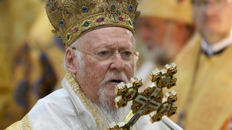 FILE - In this Sunday, Aug. 22, 2021 file photo, Ecumenical Patriarch Bartholomew I, the spiritual leader of the world's Orthodox Christians, leads a Mass at the St. Sofia Cathedral in Kyiv, Ukraine. (AP Photo/Efrem Lukatsky)