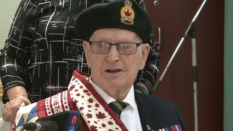 Cape Breton vet, 96, receives Quilt of Valour