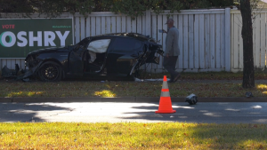 Police believe speed was a factor in the two car collision Sunday morning (CTV News Edmonton/Brandon Lynch).