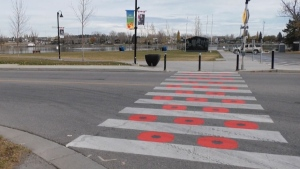 While many residents in Chestermere are happy to see the crosswalk honouring Canada's fallen soldiers, others have issued complaints to the Royal Canadian Legion over the use of the poppy image.