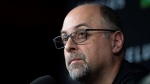 Redblacks general manager Marcel Desjardins speaks to reporters in November 2019 about the news head coach Rick Campbell will leave the team. (JUSTIN TANG / THE CANADIAN PRESS)