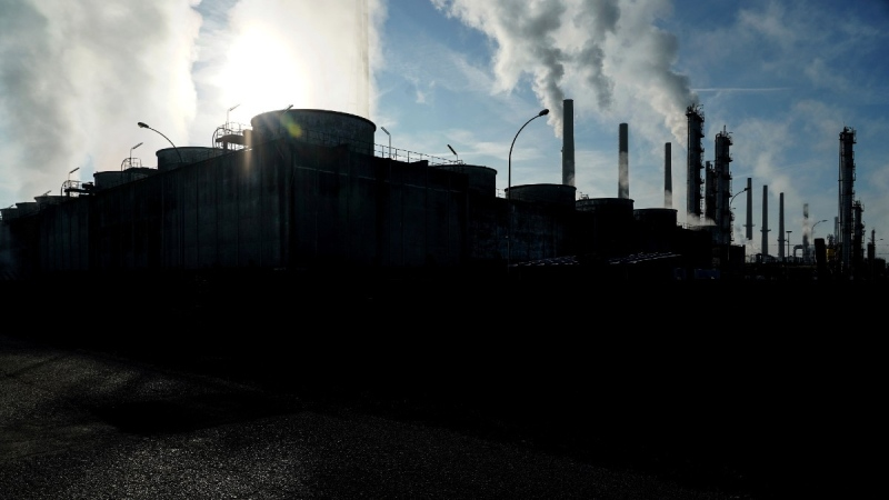 Feyzin Total refinery chimneys outside Lyon, France, on Oct. 15, 2021. (Laurent Cipriani / AP)