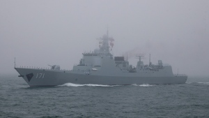 The type 052C destroyer Haikou of the Chinese People's Liberation Army (PLA) Navy participates in a naval parade to commemorate the 70th anniversary of the founding of China's PLA Navy in the sea near Qingdao in eastern China's Shandong province, Tuesday, April 23, 2019. (AP Photo/Mark Schiefelbein, Pool)