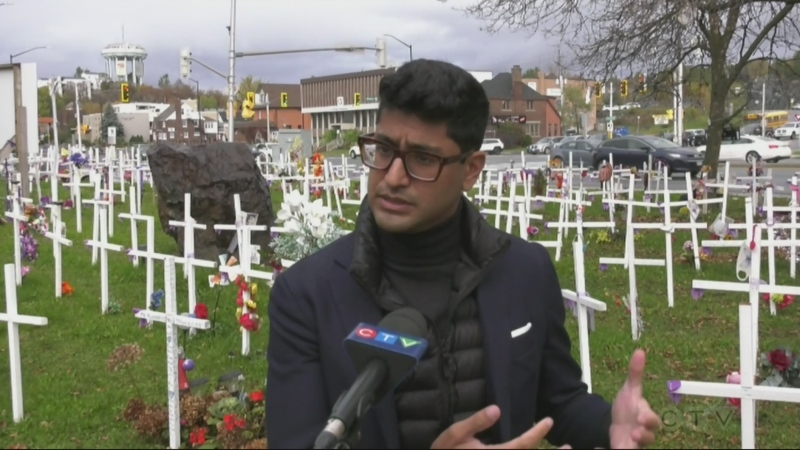 Ont. Medical Association President Dr. Adam Kassam at Crosses for Change opioid overdose death memorial in Sudbury. Oct. 24/21 (Molly Frommer/CTV Northern Ontario)