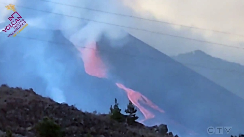 'Lava fountain' bursts from La Palma volcano