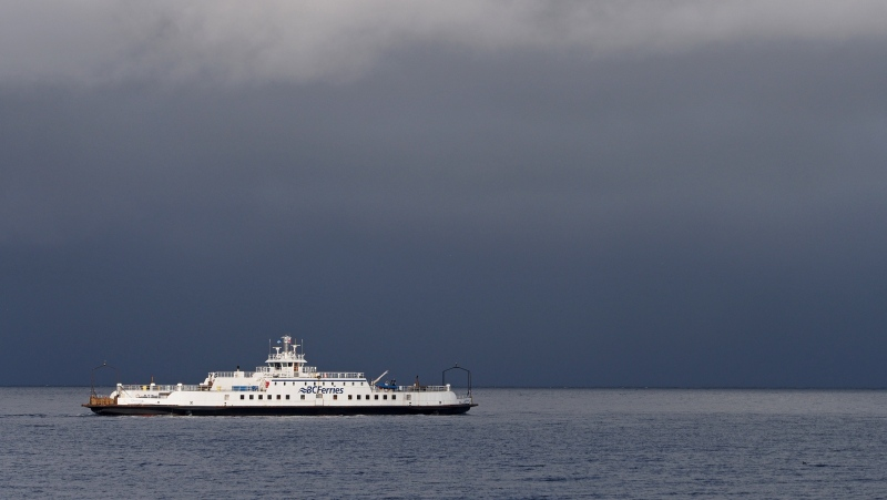 A BC Ferries vessel is seen on a stormy, rainy day. (Shutterstock)