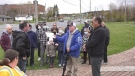 More than 350 signatures were collected on a petition against building a new transitional housing project on Lorraine Street. Oct. 24/21 (Molly Frommer)
